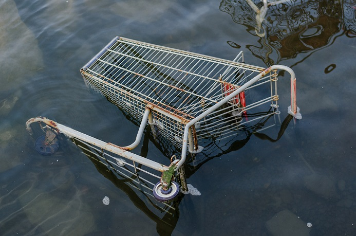 shopping trolley in flood water